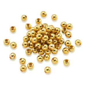 500pcs Golden Iron Spacer Beads Round Smooth Mini Loose Spacer Beads Carft 4mm