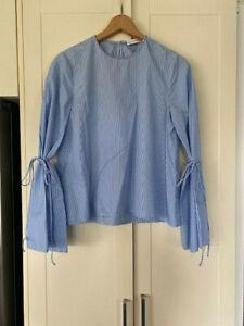 SCANLAN THEODORE blue white stripe cotton shirt blouse - size 8