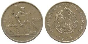 y170 ROMANIA 50 BANI 1955 COIN KM#86 aUNC