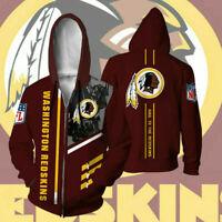 Washington Redskins Hoodie Football Zipper Sweatshirt Casual Sport Hooded Jacket