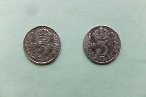 George V.  silver THREEPENCE  1914  &  1915.