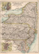 Mid Atlantic Estados. Ny Nj Pennsylvania, MD Delaware. NYC Filadelfia 1891 Mapa