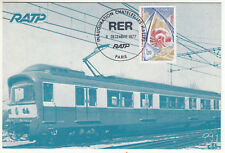 CARTE MAXIMUM FDC 1977 TIMBRE N° 1934 FEDERATION  DE LA CONSTRUCTION RER TRAIN