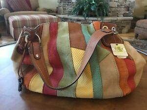 Brand NEW gorgeous Fossil multi color leather and suede handbag