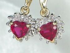 10k Yellow Gold Ruby-.88 tcw & Diamond Heart Dangle Earrings