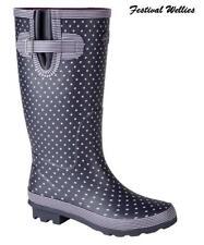 Wellies Stormwells Ladies Navy Polka Dot Rain Festival Wellingtons Size 3-9