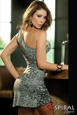 Mini Dress Asymmetric One Shoulder Fitted Body Con Stretch Party Espiral M