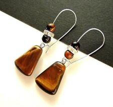 1 Pair of Tigers Eye Tear Drop Gemstone Dangle Earrings with Beads #1301