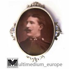 Porzellan Brosche Foto Offizier Österreich Uniform 1. Weltkrieg Ansteck Nadel