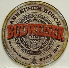 BUDWEISER KEG END ROUND BREWIANA TIN SIGN 2165 11.75 DIAMETER