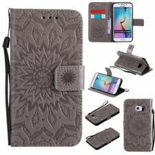 (Grey)Emboss Mandala Retro PU Leather Stand Flip Wallet Case For Nokia Sony LG