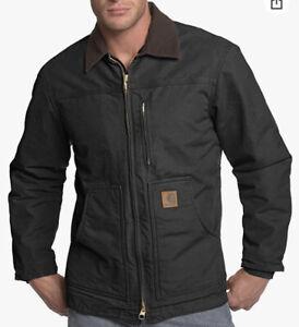 NWT Carhartt Men's Ridge Coat Sherpa Lined Sandstone,Black Size 2XL