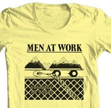 Men At Work T-shirt Business as Usual retro 1980's music 100% cotton yellow tee