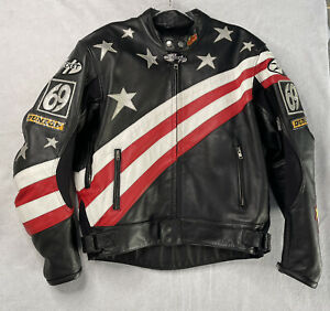 Joe Rocket Armored Motorcycle Jacket Nicky Hayden #69 Dunlop Patches Size 46