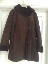 sheepskin Look Jacket, Brown UK 14