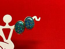 "Vintage 14k Yellow Gold Created Black Opal ""HOT"" Earrings"