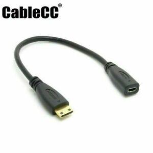 Micro HDMI to MINI HDMI Female to Male Video Converter Cable Cord TV Connector
