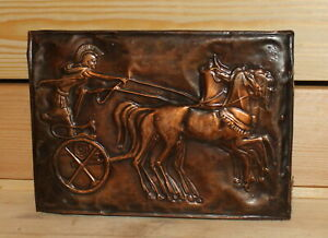 Vintage copper wall hanging plaque Roman warrior with chariot