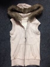 Aeropostale Hoodie Vest Off White Cream Color Fur Xs Zip Up Pockets