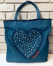Betseyville By Betsey Johnson Denim Studded Heart Handbag- Purse, Tote Carry On