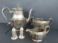 Vintage Silver plated Set Tea Pot Salt Pepper Suggar bowl Milk jug