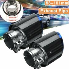 2x Universal Auto Auspuff Blende Endrohr Glanz Carbon Blau Edelstahl 63mm-101mm