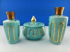 3 Wolff Ceramics Turquoise Blue Gold Mid Century Perfume Bottles Powder Jar Set