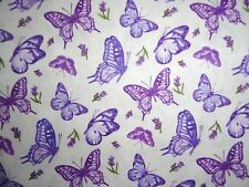 Butterflies and Lavender Fabric cotton quilting Lavender Flowers Sachet sewing