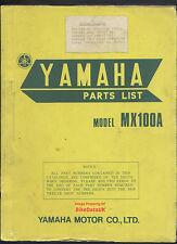 Yamaha mx100a (1973-1974) Totalmente Ilustradas piezas Catálogo Mx 100 a,vmx,pre-yz