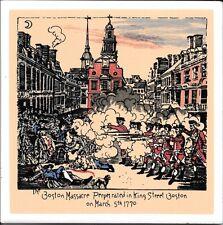 Glazed Boston Massacre 1770 King Street Historical Ceramic Tile Hot Plate Tile