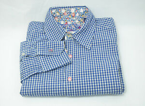 English Laundry John Lennon Button Long Sleeve Shirt Blue Floral Cuffed Size S