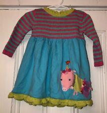 c533bef6f14e Lemon Loves Lime Baby girls Blue Green Striped Sweater Dress Pig Appliqué  6-12m