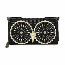 Loungefly Black Gold Owl Zip Around Wallet NEW Women Carrier