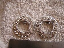 Vintage Set 2 Shoe Clips Rhinestones Signed Tiptop