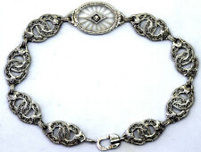 Antique Victorian 10K Solid White Gold, Hand Carved Quartz and Diamond Bracelet