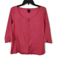 Eileen Fisher Raw Silk Button Front Blouse Size Small Coral Pink 3/4 Sleeve Top