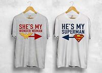 He's My Superman Shes My Wonder Woman T Shirt Couple Valentines Gift Wifey Hubby