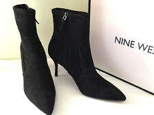 NEW! Nine West CADENCE Sexy Suede Like Textile Booties Black Boots 10.5 M $100