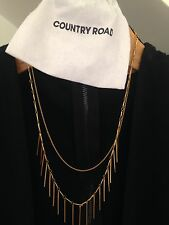 Country Road ❤️ New RRP $69.95 Layered Fringe Gold Necklace 50cm