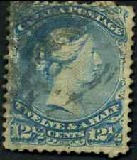 Canada #28 used F 1868 Queen Victoria 12 1/2c blue Large Queen CV$60.00