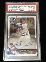 RONALD ACUNA 2018 Bowman Chrome RC AUTO Autograph PSA 10 GEM Pop 60
