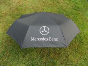 Mercedes Benz Umbrella Black Automatic Golf B/N Logo Shade Sun Rain W/Case F/S