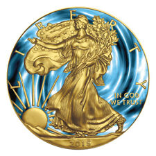 2015 1 OZ AMERICAN EAGLE SILVER COIN .999 EXPLORATION CYCLONE 24K COLORIZED COA