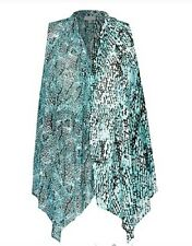 Plus Size Drape Light Blue/Green /Teal Animal Print Viscose Ladies Tunic Size 24