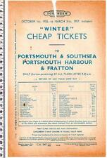 1956 PORTSMOUTH SOUTHSEA FRATTON Handbill - Southern - Winter Cheap Tickets