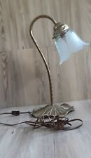 """Vintage Brass L&L Wmc Goose Neck Lily Pad Lamp W/ Frosted Glass Shade 13 3/4"""" H."""