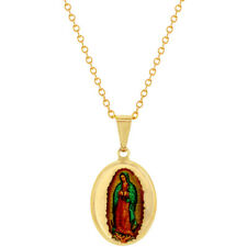 18k Gold Plated Our Lady of Guadalupe Virgin Mary Necklace Pendant 19""