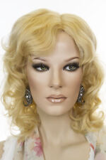 Medium Golden Blonde Blonde Medium Human Hair Monofilament Hand Tied Wavy Wigs