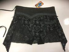 New ladies Black Mini Hippie Boho Cotton Festival Wrap around Pixie Skirt S/M