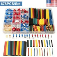 678Pcs Electrical Wire Terminals Set Crimp Terminals Butt Connectors Heat Shrink